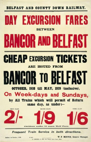 lrish Railway Timetable Poster, Bangor and Belfast, Northern Ireland